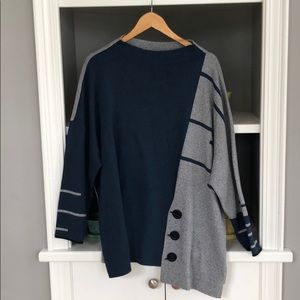 NIC+ZOE sweater, navy/grey, new with tags 2X